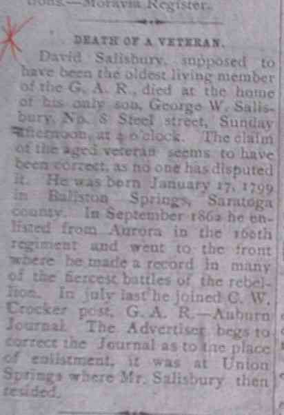 David Salisbury - Thursday, October 20, 1892 - article reporting the death of David Salisbury
