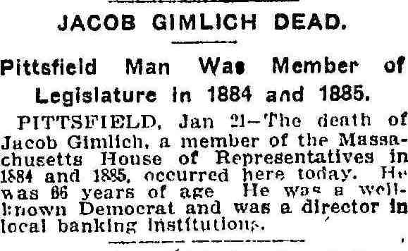 Jacob C Gimlich - 22 Jan 1912 Obituary