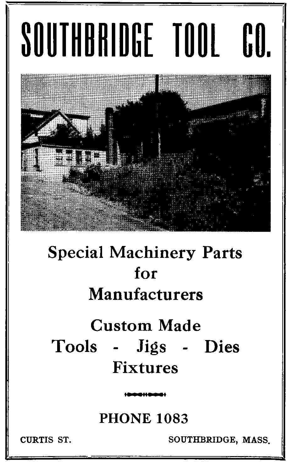 Southbridge, Worcester, Massachusetts, USA - Ad for Southbridge Tool Company