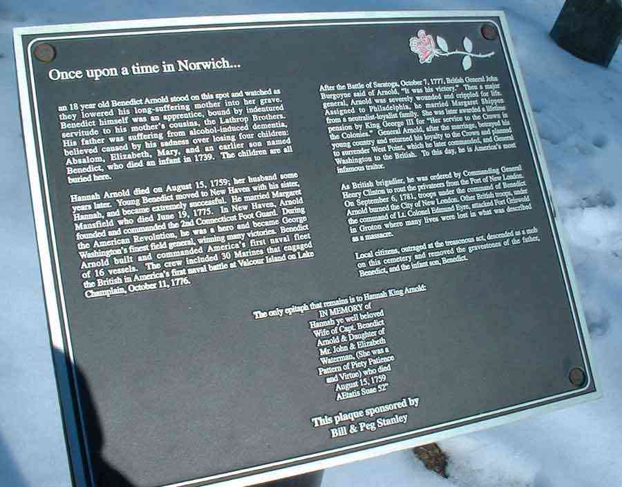 Norwich, New London, Connecticut, USA - Plaque in memory of Benedict Arnold family - Old Burying Grounds, Norwich, New London, Connecticut.