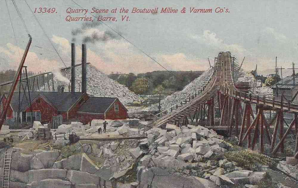 Barre, Vermont, USA - Quarry Scene at the Boutwell Miline & Varnum Co.'s Quarries, Barre, Vt.