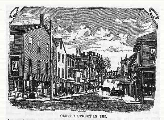 Bath, Maine, USA   Center Street In 1889 Leading Business Men Of LEWISTON,