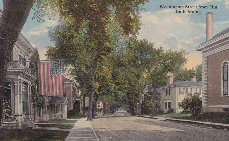 Bath, Maine, USA   Washington Street From Elm. Bath, Maine. (