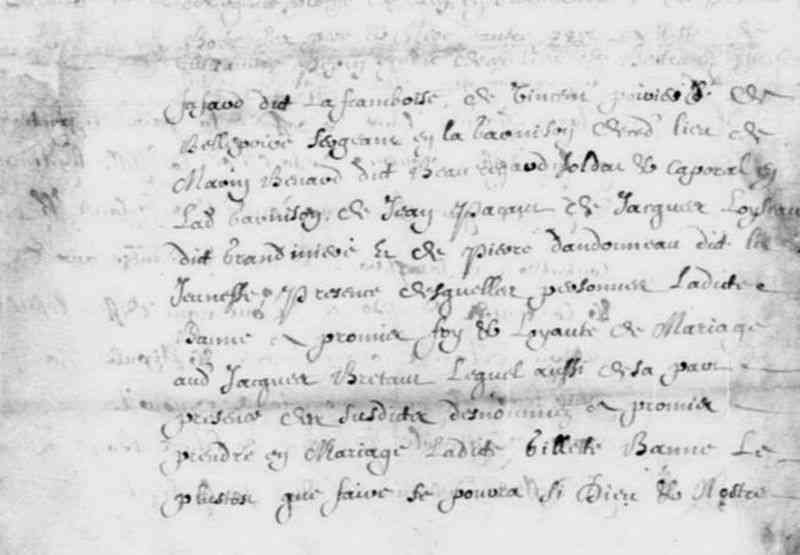 Gillette Bonne (Banne) - 1653 marriage contract
