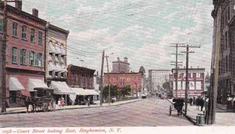 Binghamton, New York, USA - Court Street looking East, Binghamton, N.Y.
