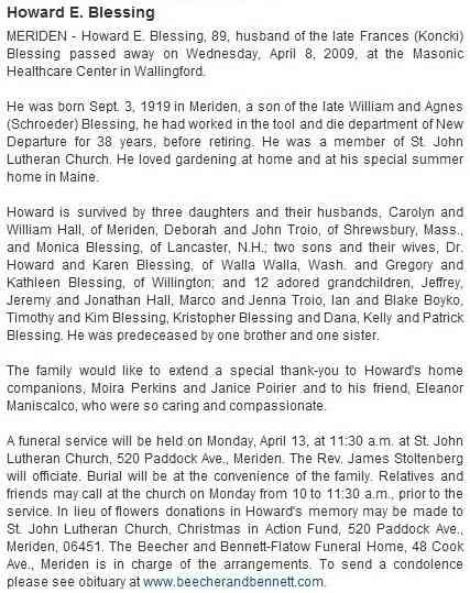 Howard Edward Blessing - The Record-Journal