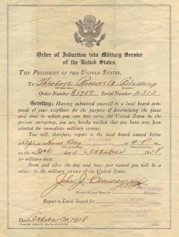 Theodore Roosevelt Blessing - Theodore R. Blessing - 1918 Enlistment Papers
