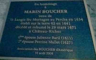 Marin BOUCHER - This plaque is mounted on the graveyard side of the church at Chateau-Richer.