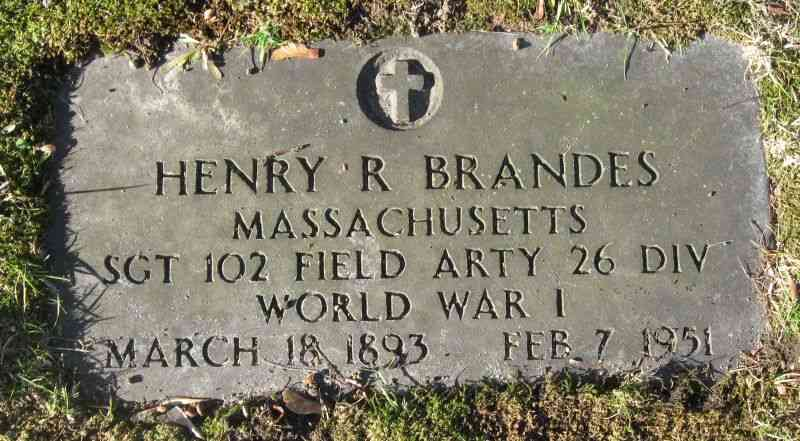 Henry Robert BRANDES - Grave - Mt. Zion Cemetery, Webster, MA