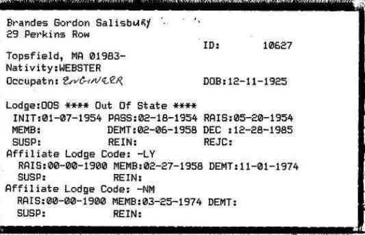 Gordon Salisbury BRANDES - Massachusetts: Grand Lodge of Masons Membership Cards, 1733-1990