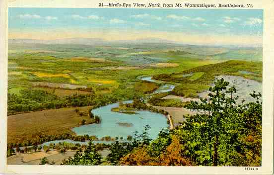 Brattleboro, Vermont, USA (West Brattleboro) - Bird's-Eye View, North from Mt. Wantastiquet, Brattleboro, Vt.