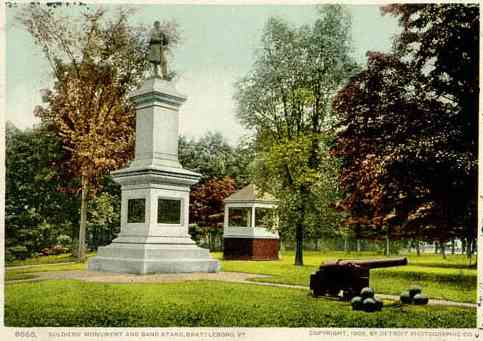 Brattleboro, Vermont, USA (West Brattleboro) - Soldier's Monument and Band Stand. Brattleboro, VT.