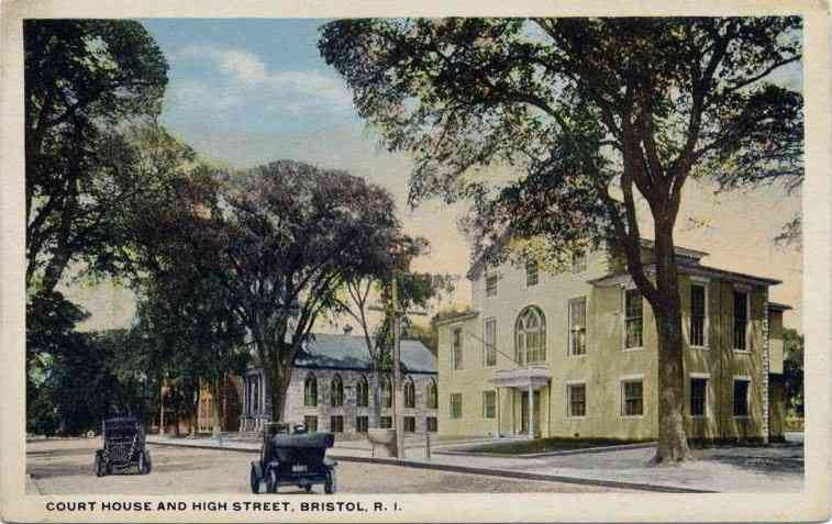 Bristol, Rhode Island, USA - Court House and High Street, Bristol, R. I.