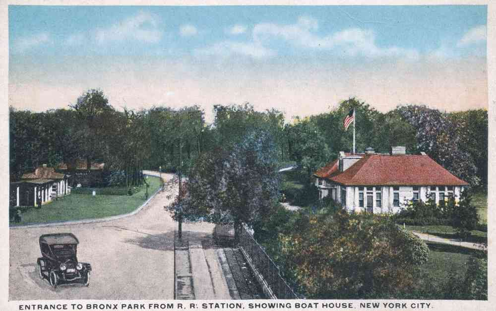 Bronx, New York, USA - Entrance to Bronx Park From R.R. Station, Showing Boat House, New York City.