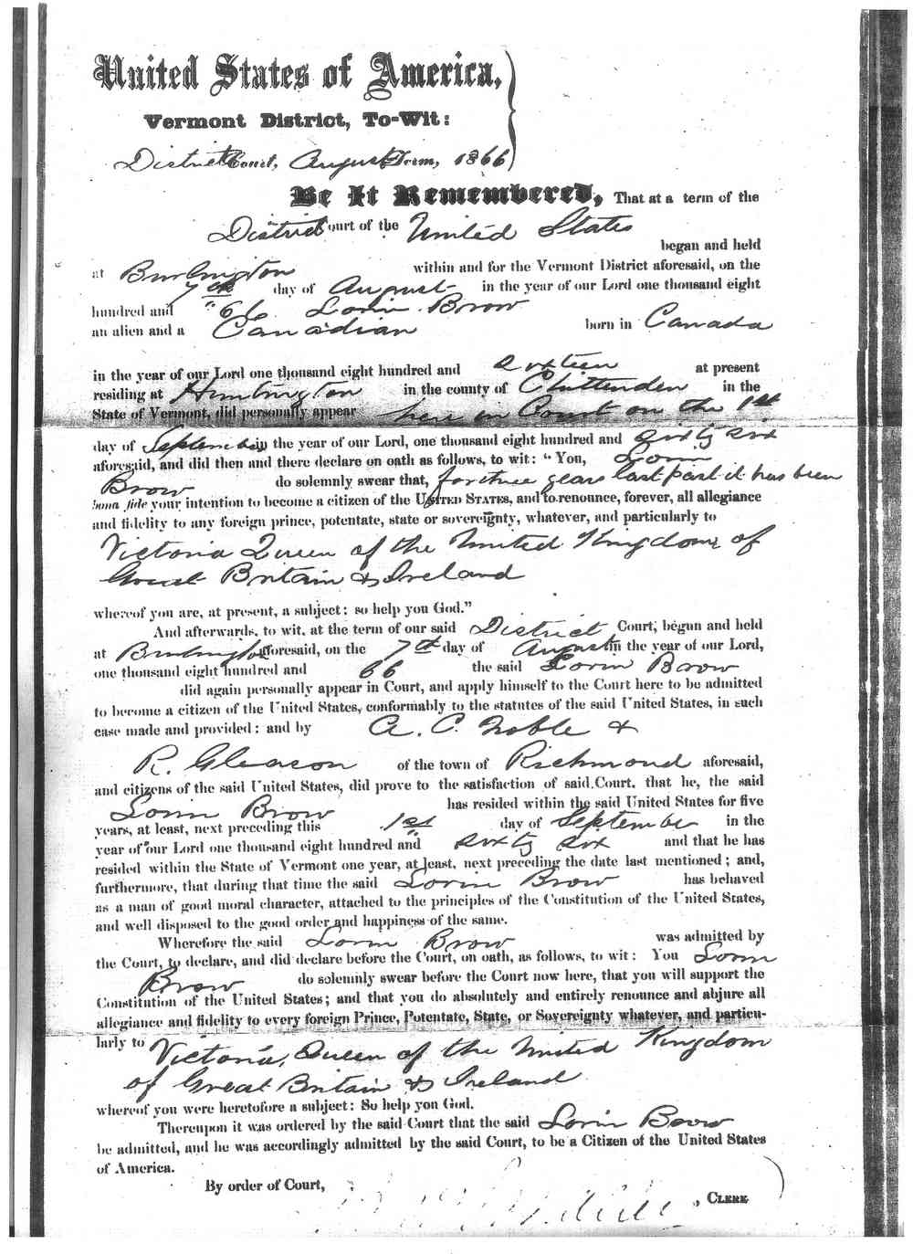 Laurent (Loren) Joseph BROWE (BREAULT) (BRAULT) - 1866 Naturalization