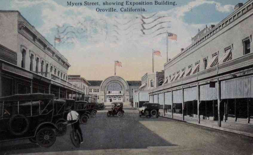 Butte County, California, USA - Myers Street, showing Exposition Building, Oroville, California