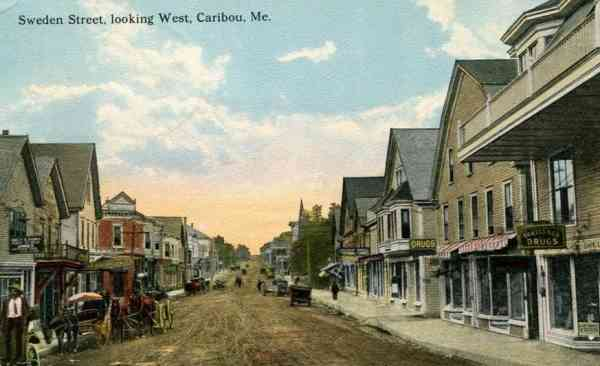 Caribou, Maine, USA - Sweden Street, looking West (1917)