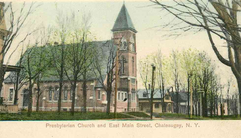 Chateaugay, New York, USA - Presbyterian Church and East Main Street