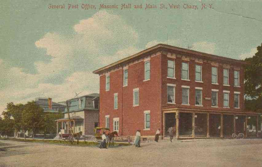 Chazy, New York, USA (Sciota) - General Post Office, Masonic Hall and Main St., West Chazy, N.Y.