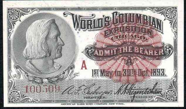 Chicago, Cook, Illinois, USA - Ticket to 1893 Chicago World's Fair (World's Columbian Exposition)