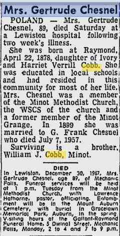 Gertrude Florence COBB - Obituary