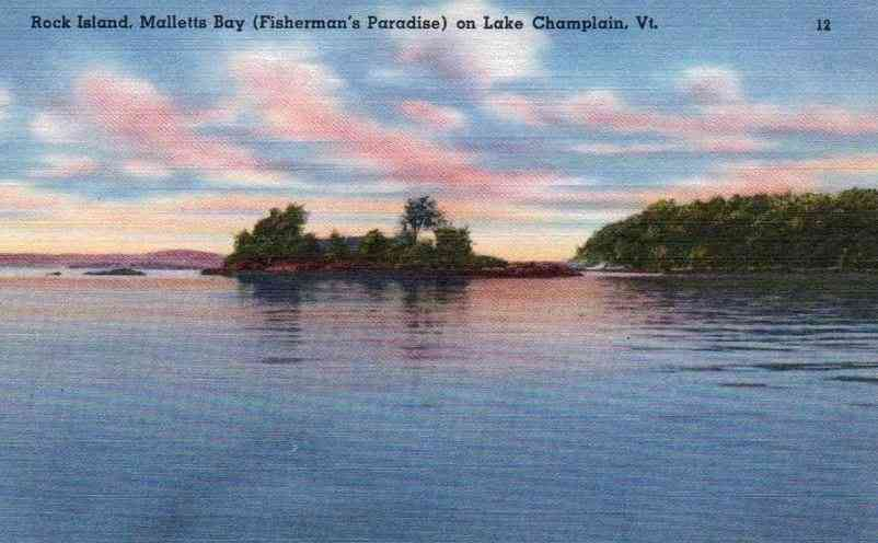Colchester, Vermont, USA  - Rock Island, Mallets Bay (Fisherman's Paradise) on Lake Champlain, Vt.