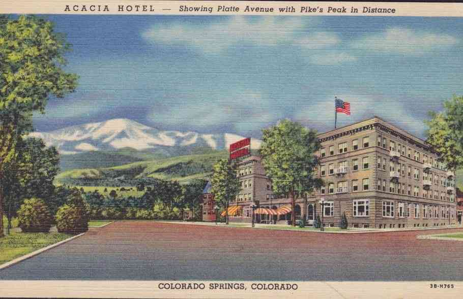 Colorado Springs, Colorado, USA - Acacia Hotel - Showing Platte Avenue with Pike's Peak in Distance