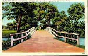 Concord, Massachusetts, USA - Old North Bridge showing Minute Man Statue and Battle Green, Concord, Mass.