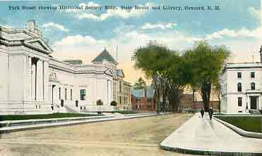 Concord, New Hampshire, USA - Park Street showing Historical Society Bldg., State House and Library, Concord, N.H.
