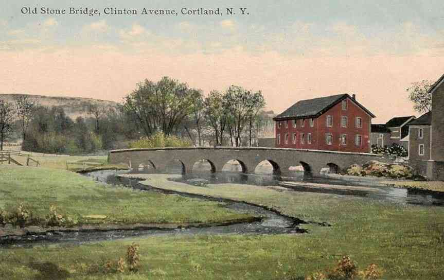 Cortland, New York, USA - Old Stone Bridge, Clinton Avenue, Cortland, N.Y.