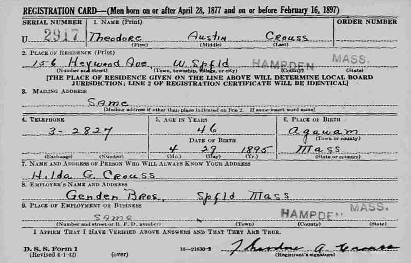 Theodore Austin Crouss - World War II Draft Registration Card