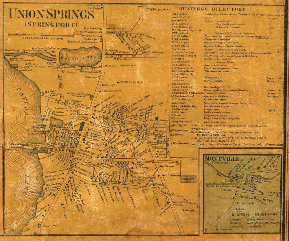 Springport, New York, USA (Union Springs) - 1859 Map of Union Springs, New York