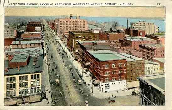 Detroit, Wayne, Michigan, USA - Jefferson Avenue, Looking East From Woodward Avenue, Detroit, Michigan.
