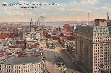 Detroit, Wayne, Michigan, USA - Bird's Eye View East from Majestic Building, Detroit, Mich.