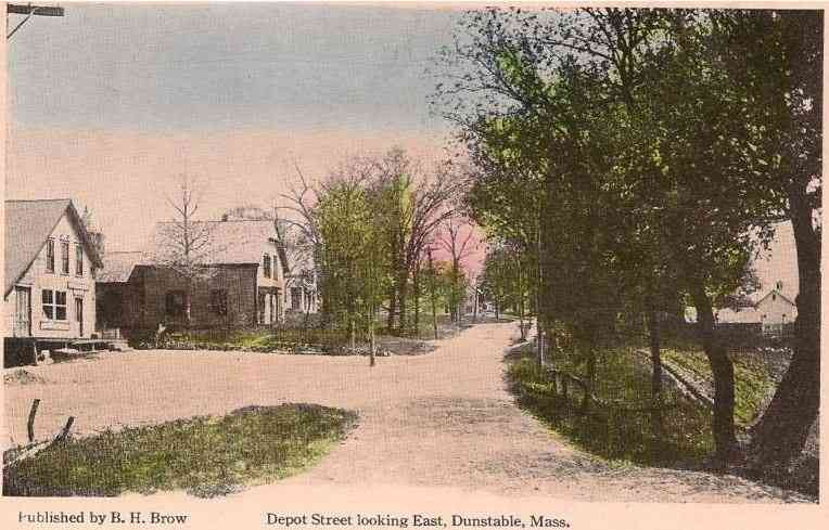 Dunstable, Massachusetts, USA - Depot Street looking East, Dunstable, Mass.