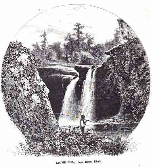 Elyria, Ohio, USA - Red-Mill Falls, Black River, Elyria