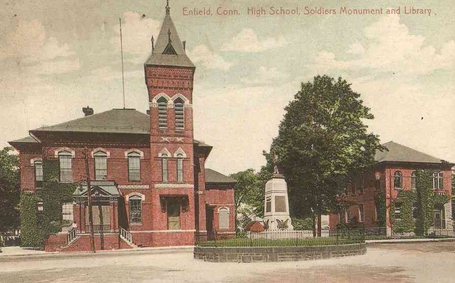 Enfield, Connecticut, USA (Thompsonville) - Enfield Conn. High School, Soldier's Monument and Library.
