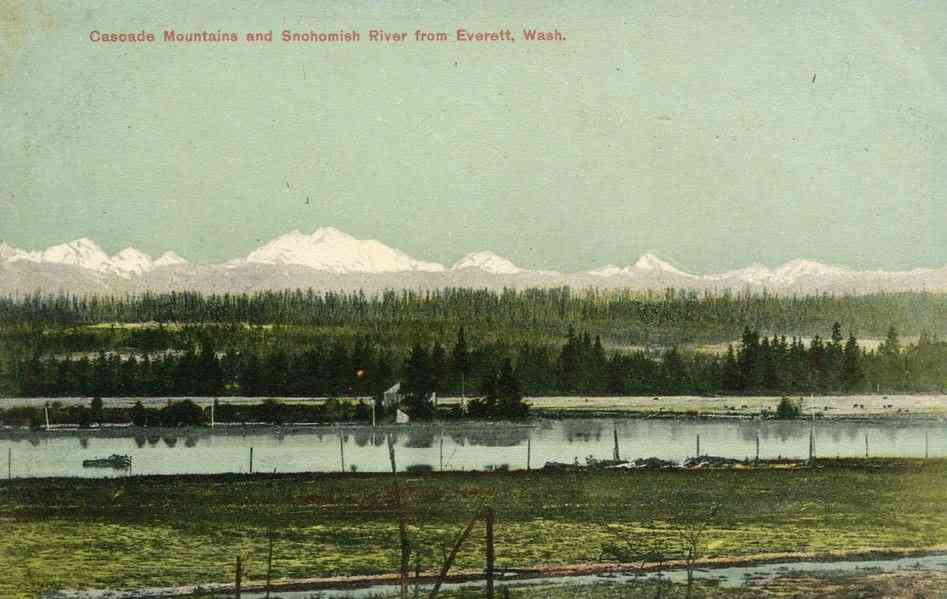 Everett, Washington, USA - Cascade Mountains and Snohomish River from Everett, Wash.