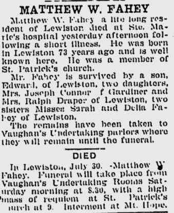 Matthew W FAHEY - Obituary