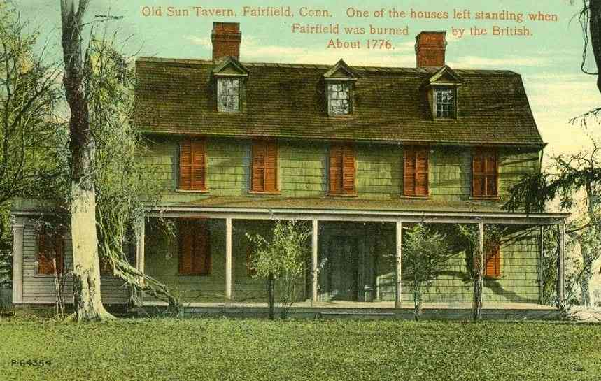Fairfield, Connecticut, USA - Old Sun Tavern, Fairfield, Conn. One of the houses left standing when Fairfield was burned by the British. About 1776.