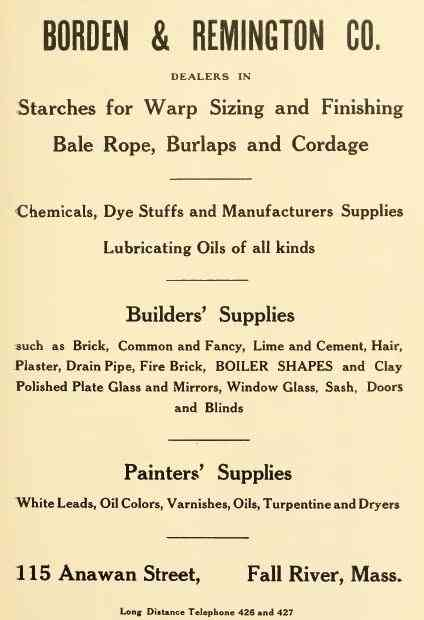 Fall River, Massachusetts, USA - BORDEN & REMINGTON CO.