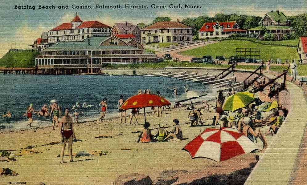 Falmouth, Massachusetts, USA (N., E., W.) (Teaticket) (Woods Hole) - Bathing Beach and Casino, Falmouth Heights, Cape Cod, Mass.