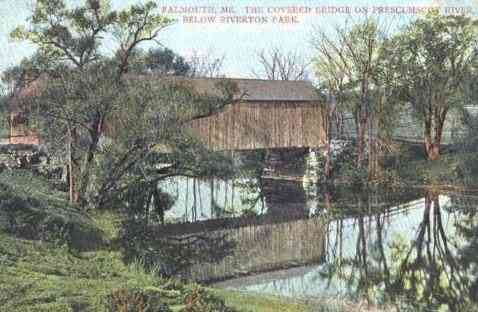 Falmouth, Maine, USA - The Covered Bridge on Prescumscot River, Below Riverton Park