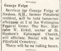 George Crosley Feige - Berkshire Eagle