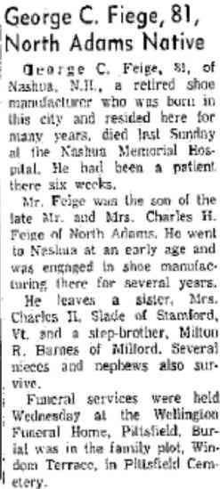 George Crosley Feige - The North Adams, Massachusetts, Transcript