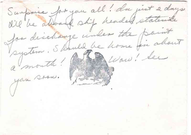 George William Feige - Christmas 1945 postcard to his sister, Evelyn, announcing his discharge from the Navy.