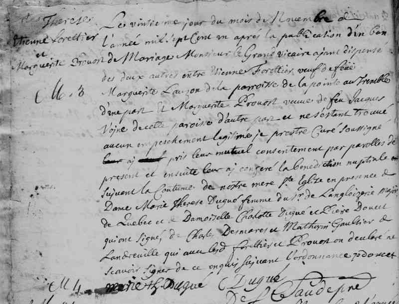Étienne FORESTIER dit LAFORTUNE - 1701 Marriage - Sainte-Anne-de-Varennes, QC, Canada