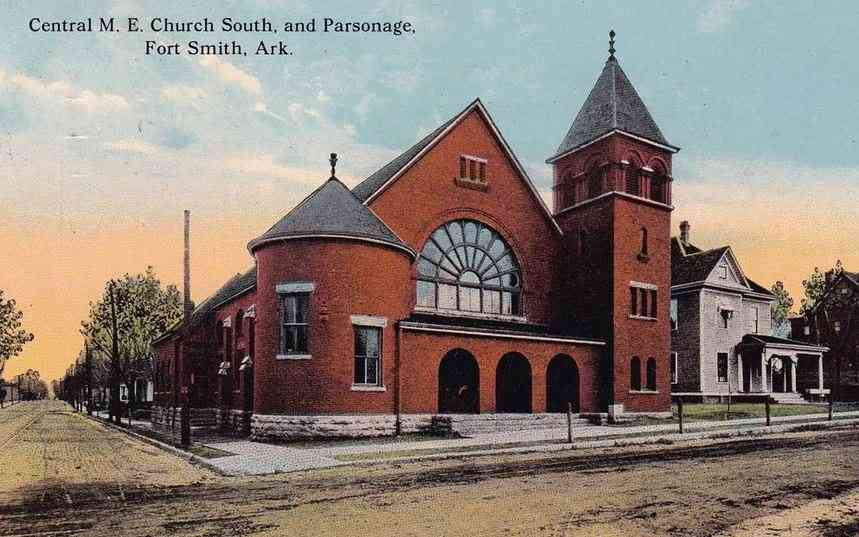 Fort Smith, Sebastian, Arkansas, USA - Central M. E. Church South, and Parsonage, Fort Smith, Ark.