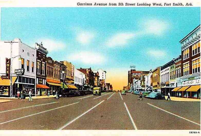 Fort Smith, Sebastian, Arkansas, USA - Garrison Avenue from 9th Street Looking West, Fort Smith, Ark. (1941)