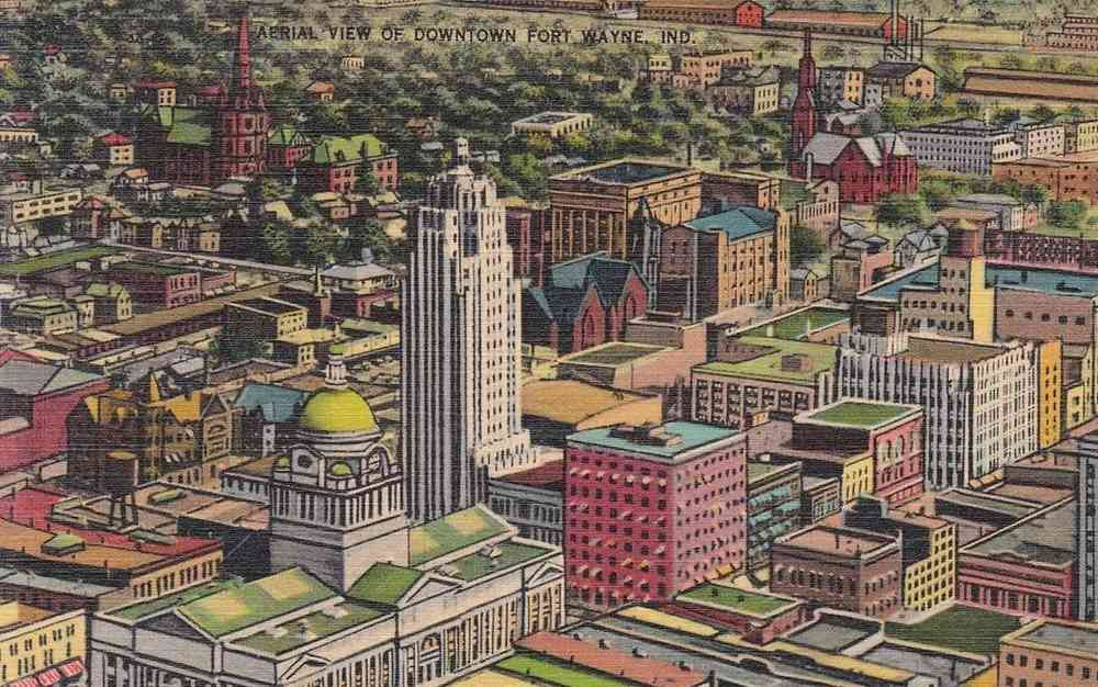 Fort Wayne, Indiana, USA - Aerial View of Downtown Fort Wayne